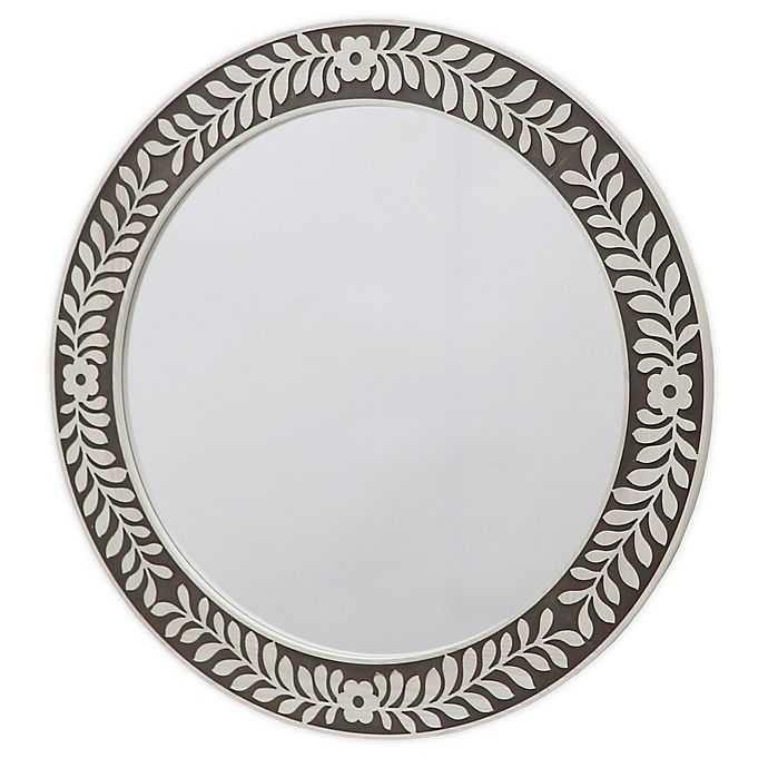 Alternate image 1 for Carved 26-Inch Round Wall Mirror in Brown/White