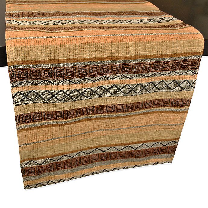 Chenille Tapestry Earth Stripe Table Runner Bed Bath