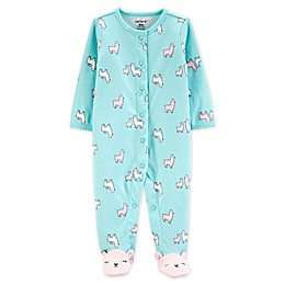 carter's® Snap-Front Llama Sleep & Play Footie in Turquoise