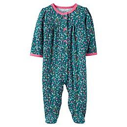 carter's® Snap-Front Floral Sleep & Play Footie in Green