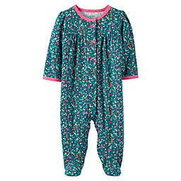 carter's® Size 6M Snap-Front Floral Sleep & Play Footie in Green