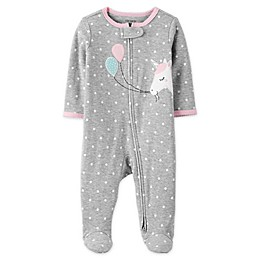 carter's® Zip-Front Unicorn Sleep & Play Footie in Heather