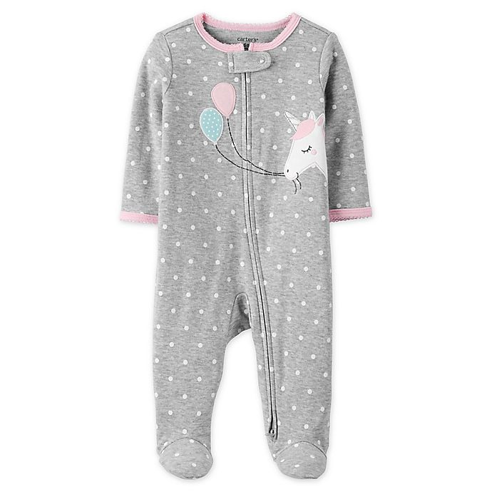 Alternate image 1 for carter's® Zip-Front Unicorn Sleep & Play Footie in Heather