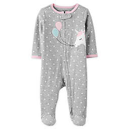 carter's® Size 3M Zip-Front Unicorn Sleep & Play Footie in Heather