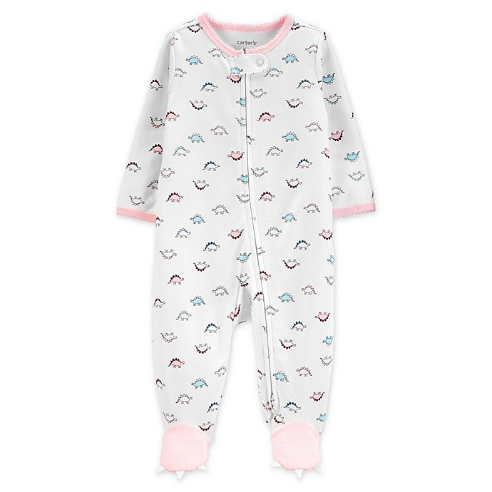 Alternate image 1 for carter's® Size 3M Zip-Front Dino Sleep & Play Footie in White/Pink