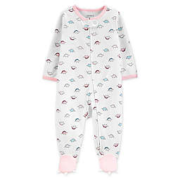 carter's® Size 3M Zip-Front Dino Sleep & Play Footie in White/Pink