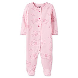 carter's® Elephant Snap-Front Sleep & Play Footie in Pink