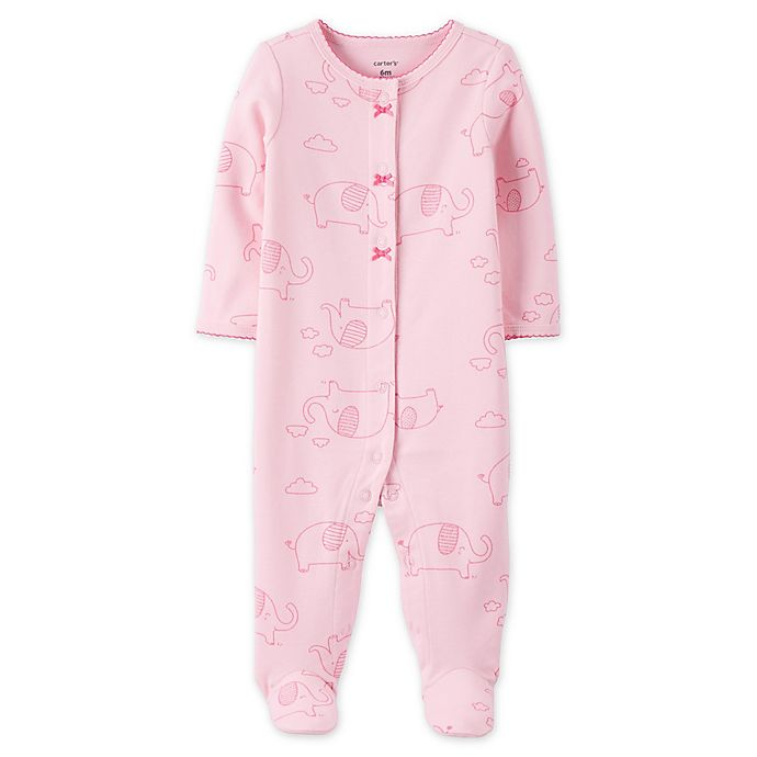 Alternate image 1 for carter's® Elephant Snap-Front Sleep & Play Footie in Pink