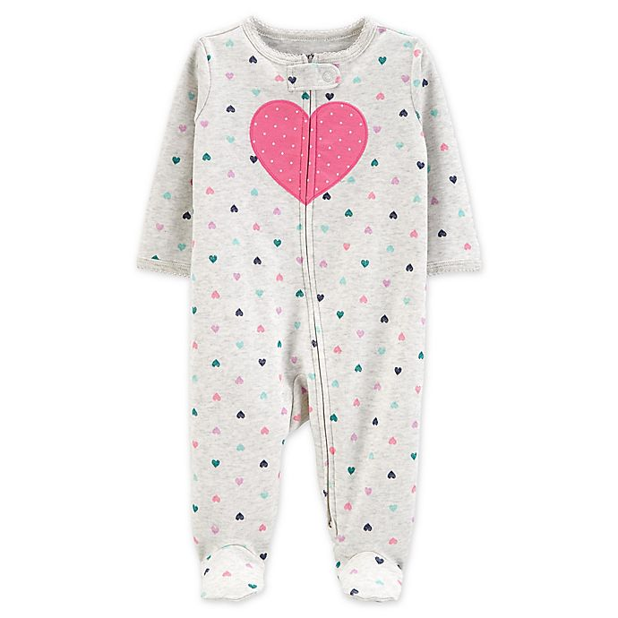 Alternate image 1 for carter's® Heart 2-Way Zip Sleep & Play Footie