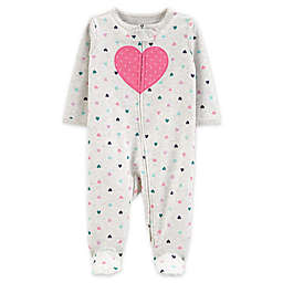 carter's® Size 3M Heart 2-Way Zip Sleep & Play Footie