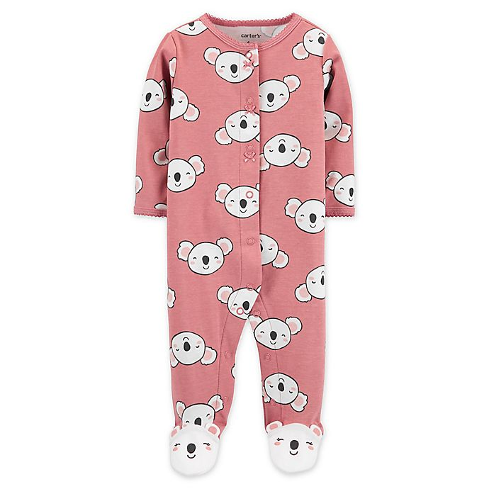 Alternate image 1 for carter's® Size 6M Koala Snap-Front Sleep & Play Footie in Pink