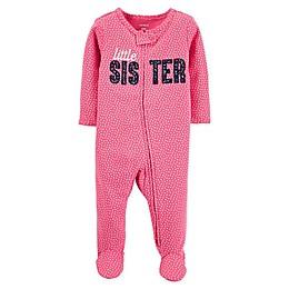 """carter's® """"Little Sister"""" 2-Way Zip Sleep & Play Footie in Pink"""