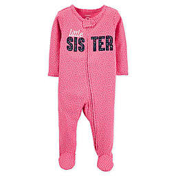 "carter's® Size 3M ""Little Sister"" 2-Way Zip Sleep & Play Footie in Pink"