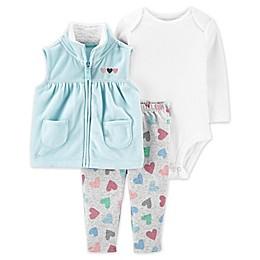 carter's® 3-Piece Heart Bodysuit, Vest, and Pant Set in Aqua