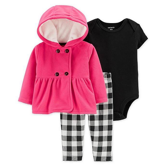 Alternate image 1 for carter's® 3-Piece Plaid Bodysuit, Jacket, and Pant Set in Pink