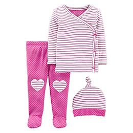 carter's® Preemie 3-Piece Stripe Top, Pant, and Cap Set in Pink