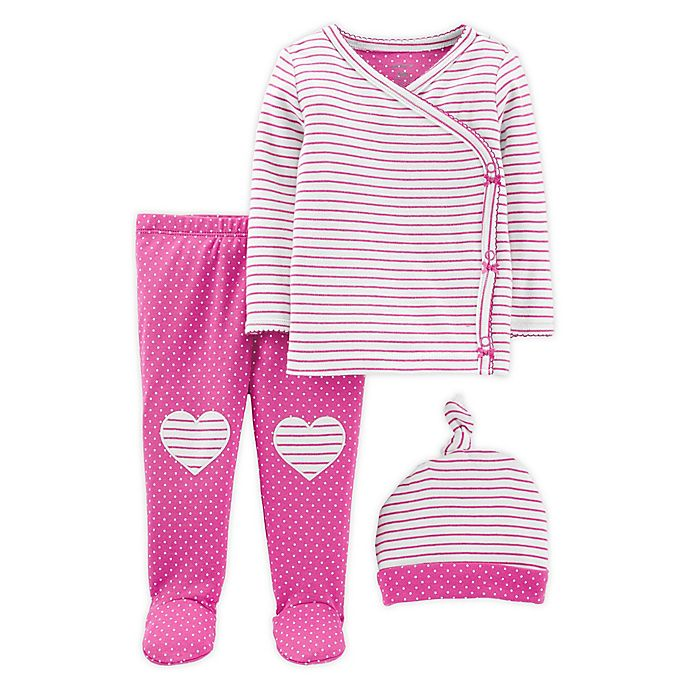 Alternate image 1 for carter's® Preemie 3-Piece Stripe Top, Pant, and Cap Set in Pink