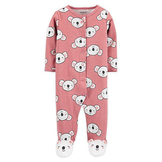 Alternate image 1 for carter's® Preemie Snap-Front Koala Sleep & Play Footie in Pink