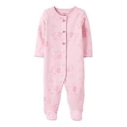 carter's® Preemie Snap-Front Elephant Sleep & Play Footie in Pink