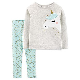 carter's® 2-Piece Unicorn Top and Leggings Set in Heather Grey