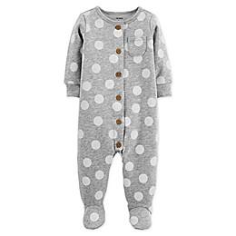 carter's® Polka Dot Fleece Sleep and Play Footie in Grey