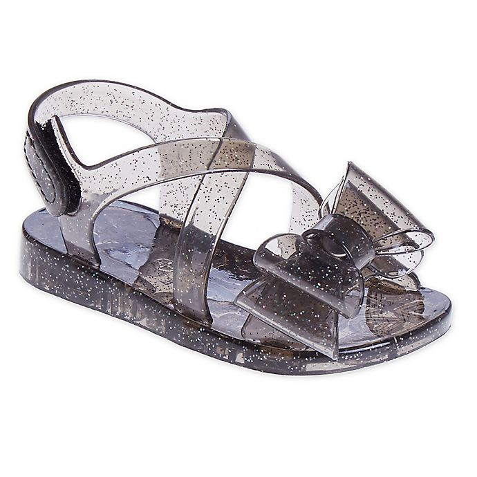 Alternate image 1 for Stepping Stones Big Bow Glitter Jelly Sandal in Black