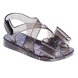 Stepping Stones Big Bow Glitter Jelly Sandal in Black