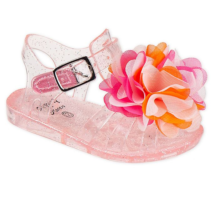 Alternate image 1 for Stepping Stones Flower Glitter Jelly Sandal in Pink
