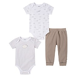 Absorba® 3-Piece Clouds Bodysuit and Pant Set in White/Grey