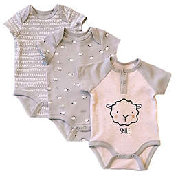 Sterling Baby 3-Pack Lamb Bodysuits in Grey