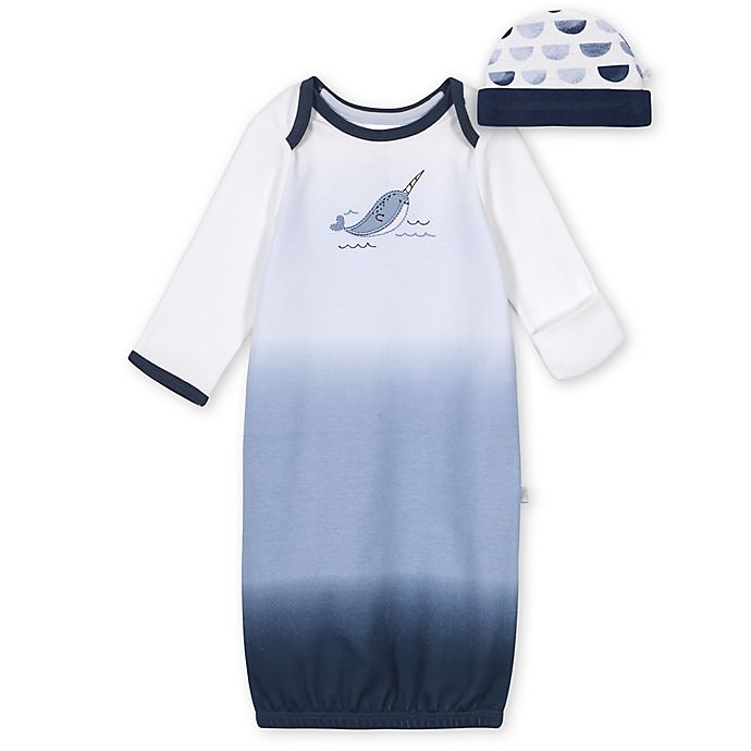 Alternate image 1 for Just Born® Size 0-6M 2-Piece Narwhal Gown and Cap Set in Blue/White