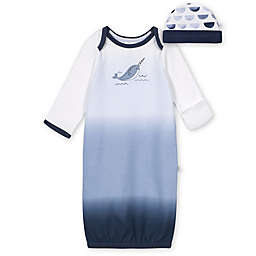 Just Born® Size 0-6M 2-Piece Narwhal Gown and Cap Set in Blue/White