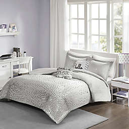 Intelligent Designs Zoey Metallic Triangle California King Duvet Cover Set in Grey/Silver