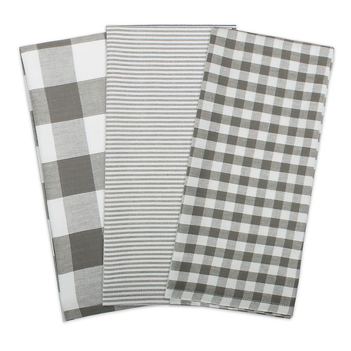 Alternate image 1 for DII Gingham Check Kitchen Towels (Set of 3)
