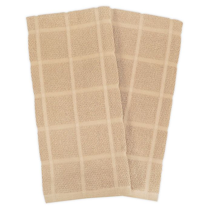 Alternate image 1 for KitchenSmart® Colors 2 Solid Windowpane Kitchen Towels in Sand (Set of 2)