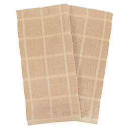 KitchenSmart® Colors Solid Windowpane Kitchen Towels in Sand (Set of 2)
