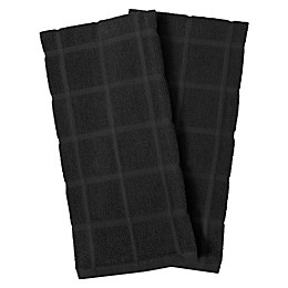 KitchenSmart® Colors 2 Solid Windowpane Kitchen Towels in Black (Set of 2)