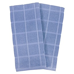KitchenSmart® Colors 2 Solid Windowpane Kitchen Towels in Capri (Set of 2)