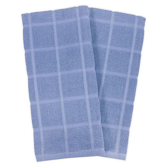 Alternate image 1 for KitchenSmart® Colors 2 Solid Windowpane Kitchen Towels in Capri (Set of 2)