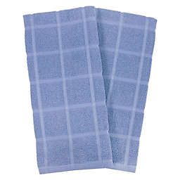 KitchenSmart® Colors Solid Windowpane Kitchen Towels in Capri (Set of 2)