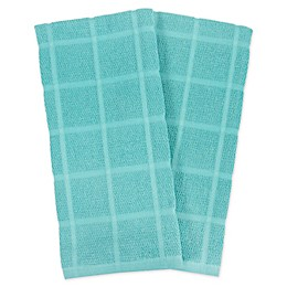 KitchenSmart® Colors 2 Solid Windowpane Kitchen Towels in Teal (Set of 2)