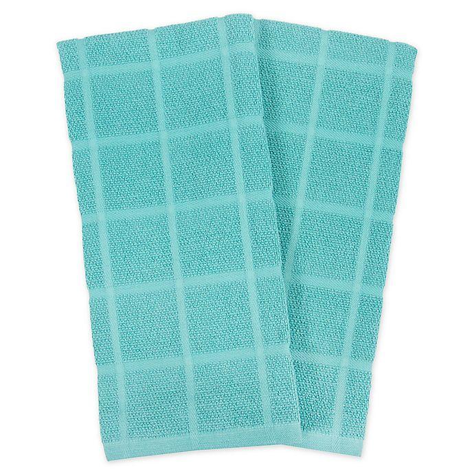 Alternate image 1 for KitchenSmart® Colors 2 Solid Windowpane Kitchen Towels in Teal (Set of 2)