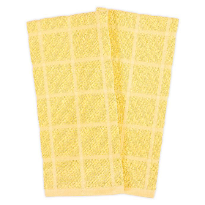 Alternate image 1 for KitchenSmart® Colors 2 Solid Windowpane Kitchen Towels in Canary (Set of 2)