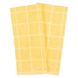 KitchenSmart® Colors Solid Windowpane Kitchen Towels in Canary (Set of 2)