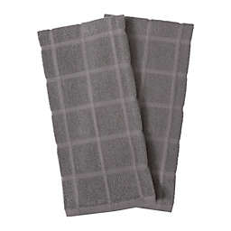 KitchenSmart® Colors Solid Windowpane Kitchen Towels in Grey (Set of 2)