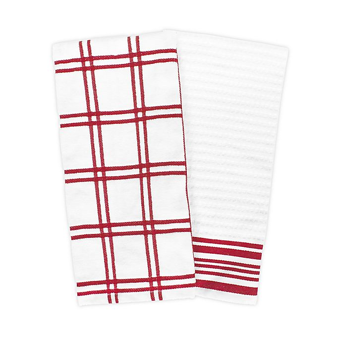 Alternate image 1 for KitchenSmart® Colors 2 Plaid Windowpane Kitchen Towels in Red (Set of 2)