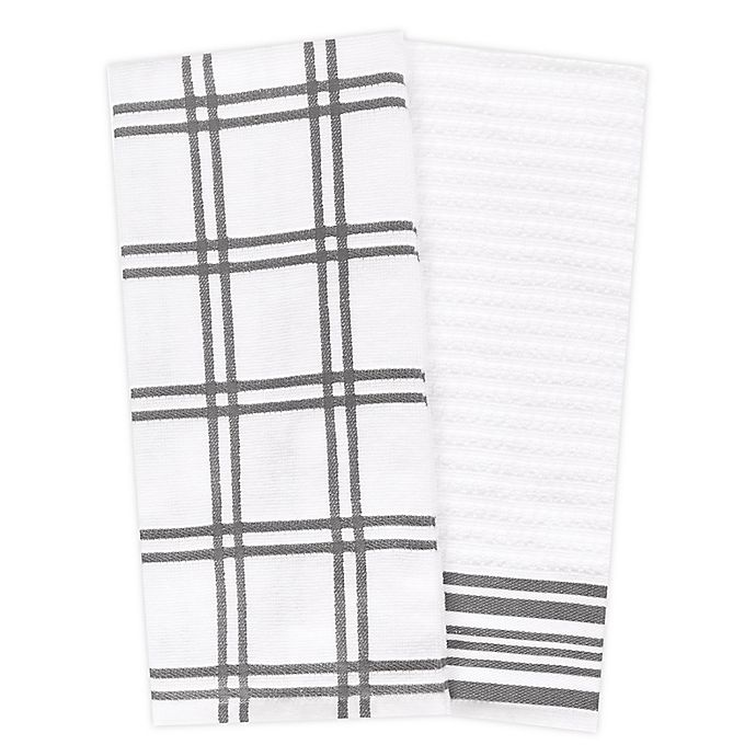Alternate image 1 for KitchenSmart® Colors 2 Plaid Windowpane Kitchen Towels in Grey (Set of 2)