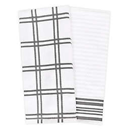 KitchenSmart® Colors Plaid Windowpane Kitchen Towels in Grey (Set of 2)