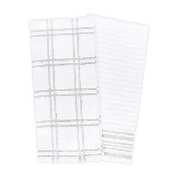 Alternate image 1 for KitchenSmart® Colors 2 Plaid Windowpane Kitchen Towels in Silver (Set of 2)