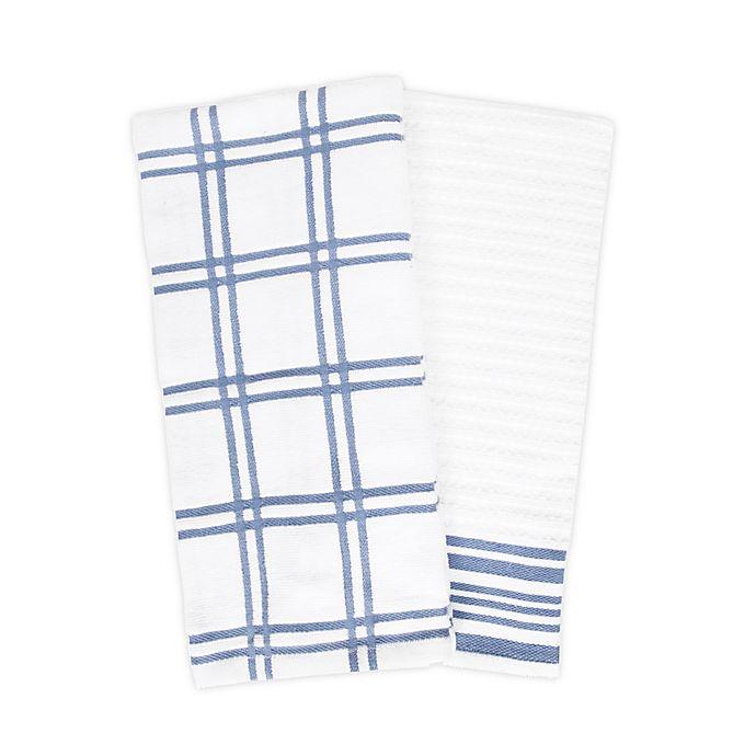 Alternate image 1 for KitchenSmart® Colors 2 Plaid Windowpane Kitchen Towels in Capri (Set of 2)